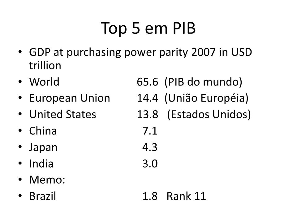 Top 5 em PIB GDP at purchasing power parity 2007 in USD trillion