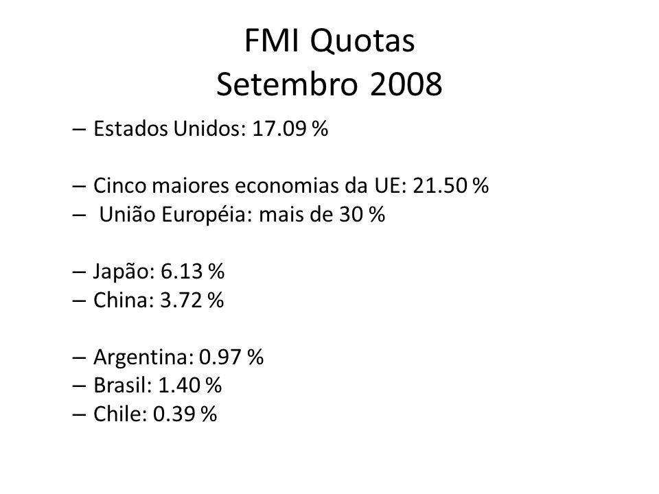 FMI Quotas Setembro 2008 Estados Unidos: %