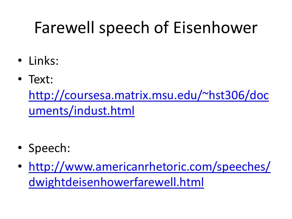 Farewell speech of Eisenhower