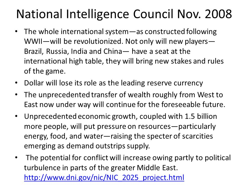 National Intelligence Council Nov. 2008