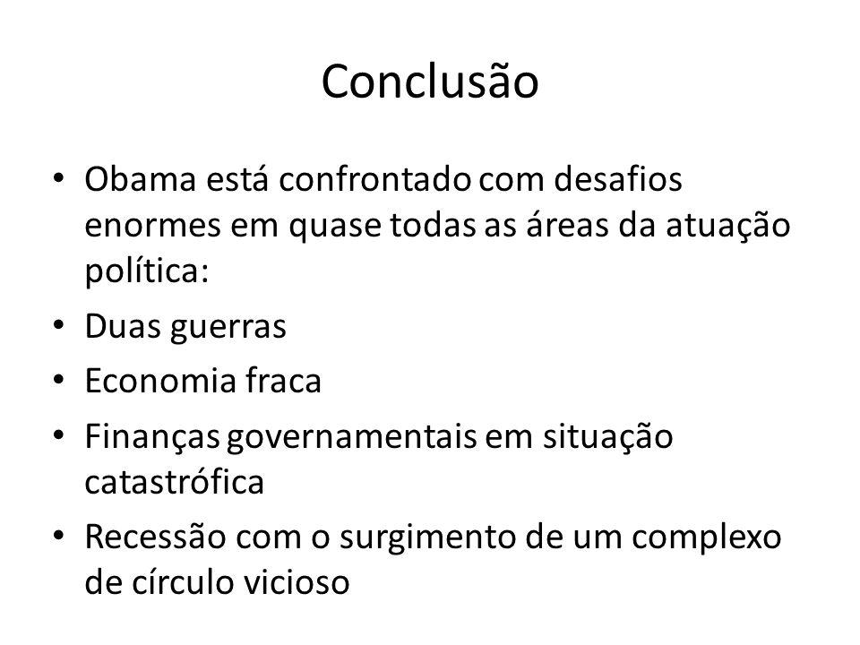 ConclusãoObama está confrontado com desafios enormes em quase todas as áreas da atuação política: Duas guerras.
