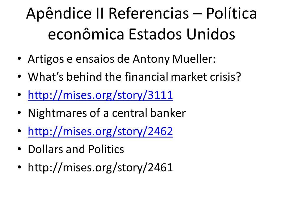 Apêndice II Referencias – Política econômica Estados Unidos