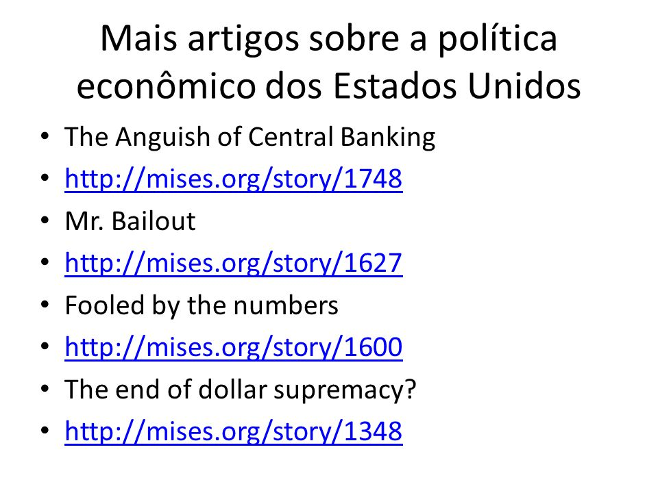 Mais artigos sobre a política econômico dos Estados Unidos
