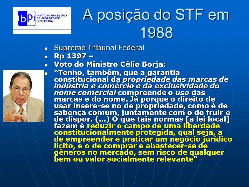 A posição do STF em 1988 Supremo Tribunal Federal Rp 1397 –