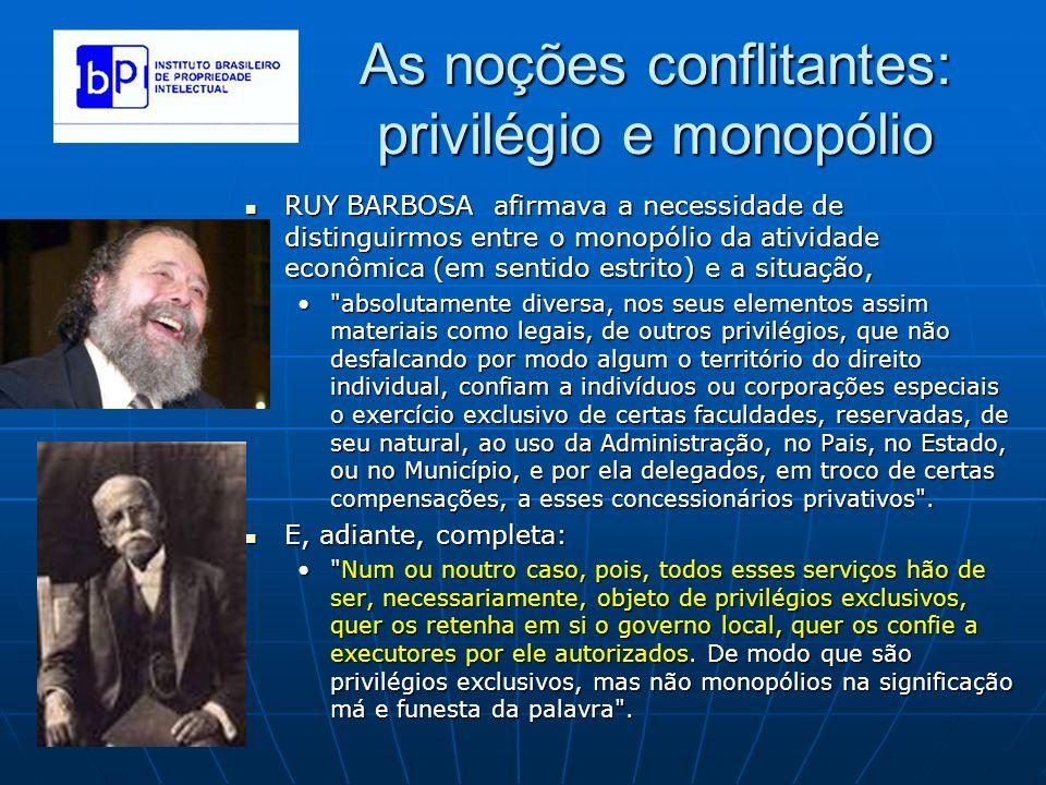As noções conflitantes: privilégio e monopólio