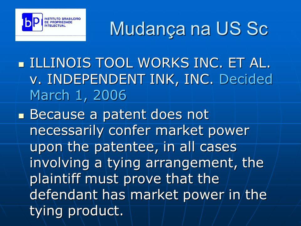 Mudança na US Sc ILLINOIS TOOL WORKS INC. ET AL. v. INDEPENDENT INK, INC. Decided March 1, 2006.