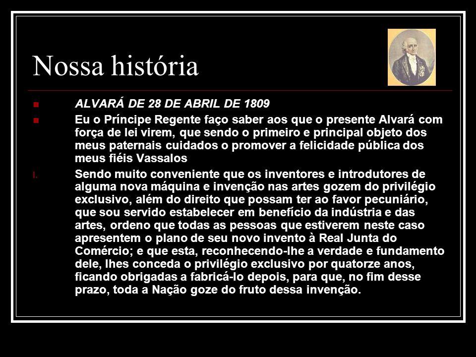 Nossa história ALVARÁ DE 28 DE ABRIL DE 1809