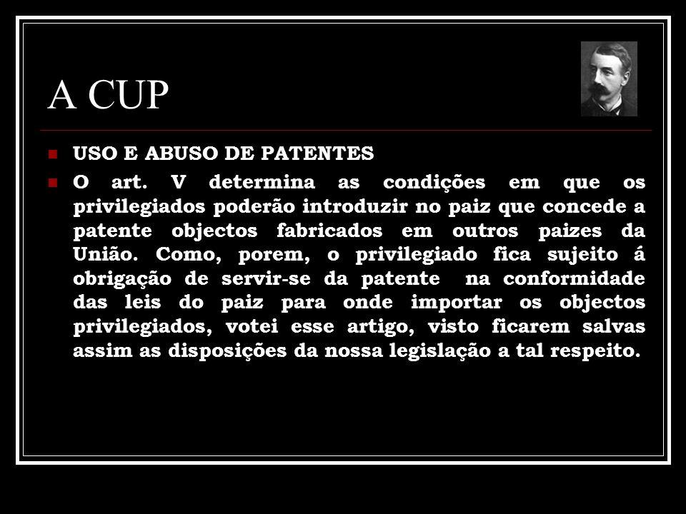 A CUP USO E ABUSO DE PATENTES