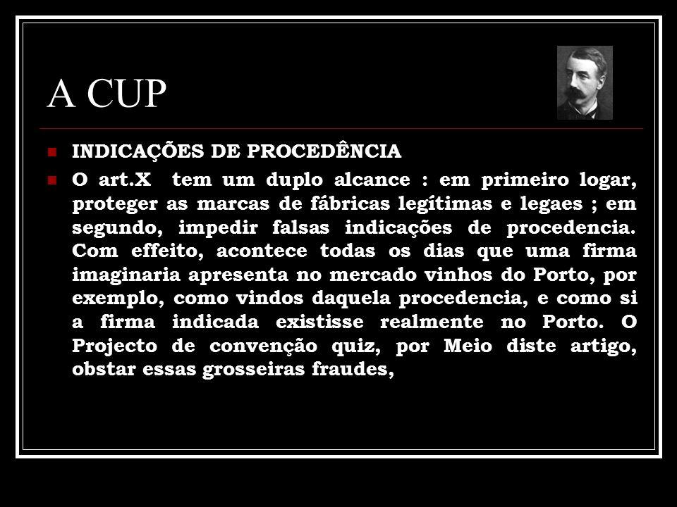 A CUP INDICAÇÕES DE PROCEDÊNCIA