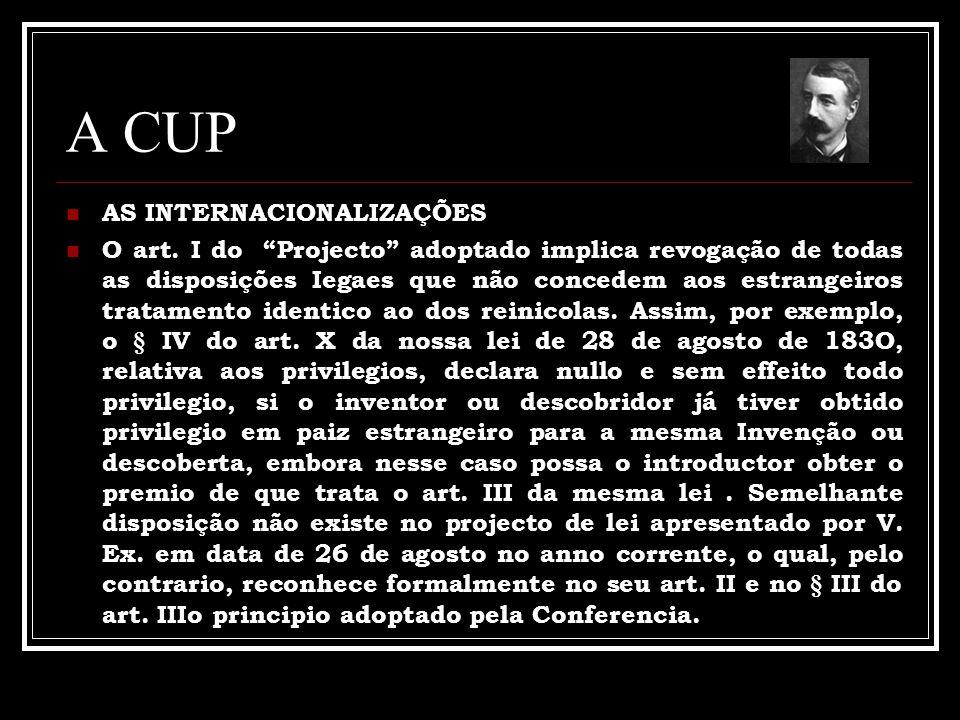 A CUP AS INTERNACIONALIZAÇÕES