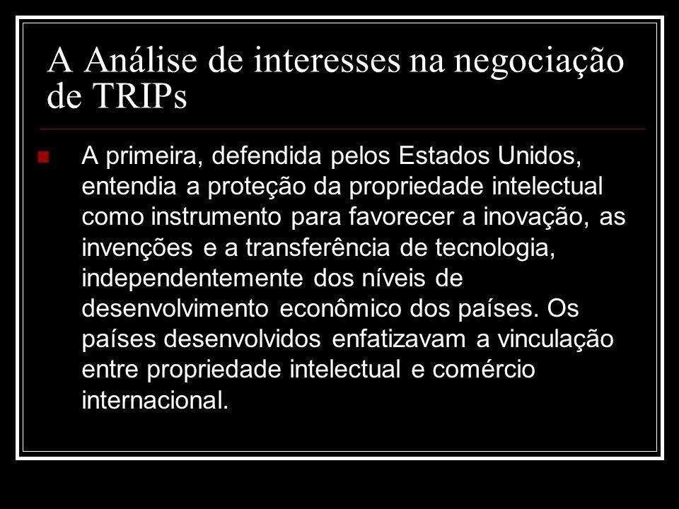A Análise de interesses na negociação de TRIPs