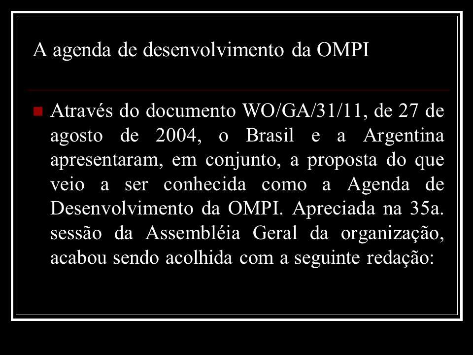 A agenda de desenvolvimento da OMPI