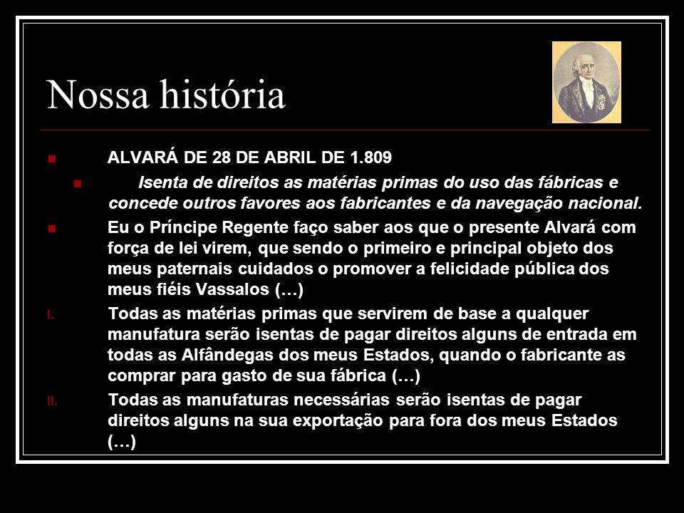Nossa história ALVARÁ DE 28 DE ABRIL DE 1.809