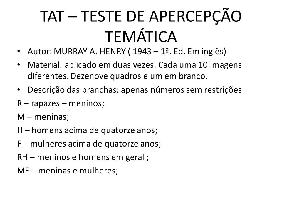 TAT – TESTE DE APERCEPÇÃO TEMÁTICA