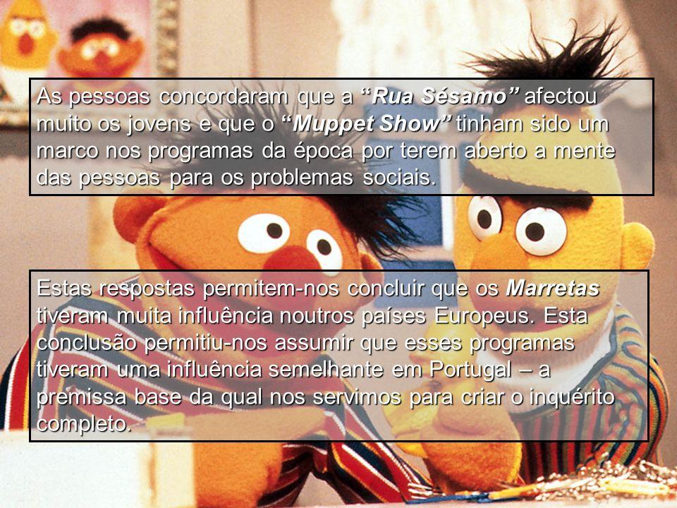 As pessoas concordaram que a Rua Sésamo afectou muito os jovens e que o Muppet Show tinham sido um marco nos programas da época por terem aberto a mente das pessoas para os problemas sociais.