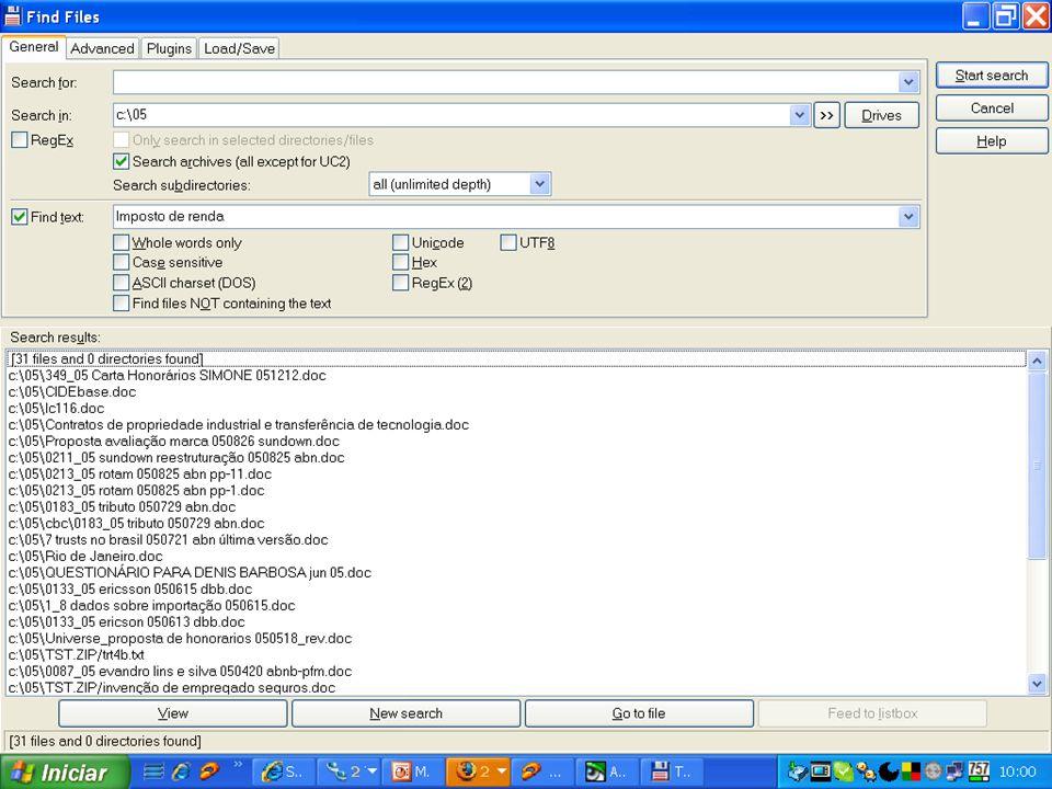 Lutero e a informaçãoPara buscar o que quero, a cada caso, uso os instrumentos usuais: o localizador do Windows (vem junto)