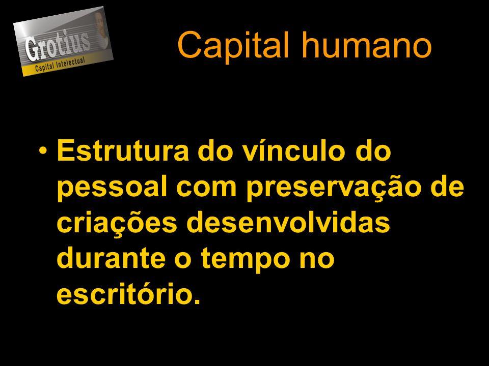 Capital humano Estrutura do vínculo do pessoal com preservação de criações desenvolvidas durante o tempo no escritório.