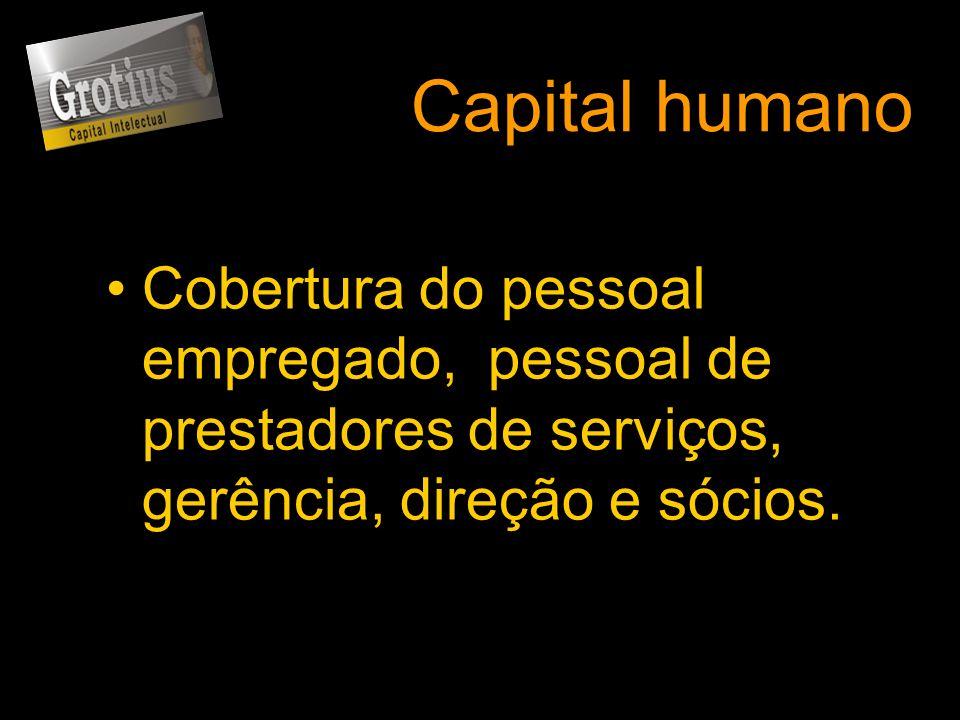 Capital humanoCobertura do pessoal empregado, pessoal de prestadores de serviços, gerência, direção e sócios.