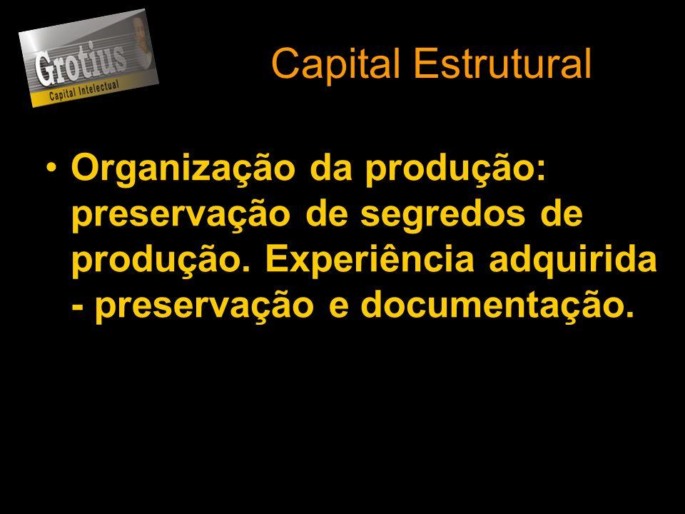 Capital Estrutural Organização da produção: preservação de segredos de produção.