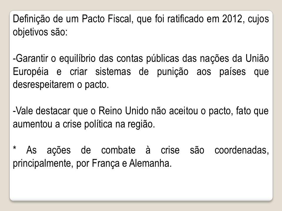 Definição de um Pacto Fiscal, que foi ratificado em 2012, cujos objetivos são: