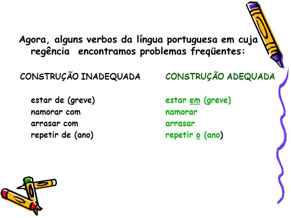 Agora, alguns verbos da língua portuguesa em cuja regência encontramos problemas freqüentes: