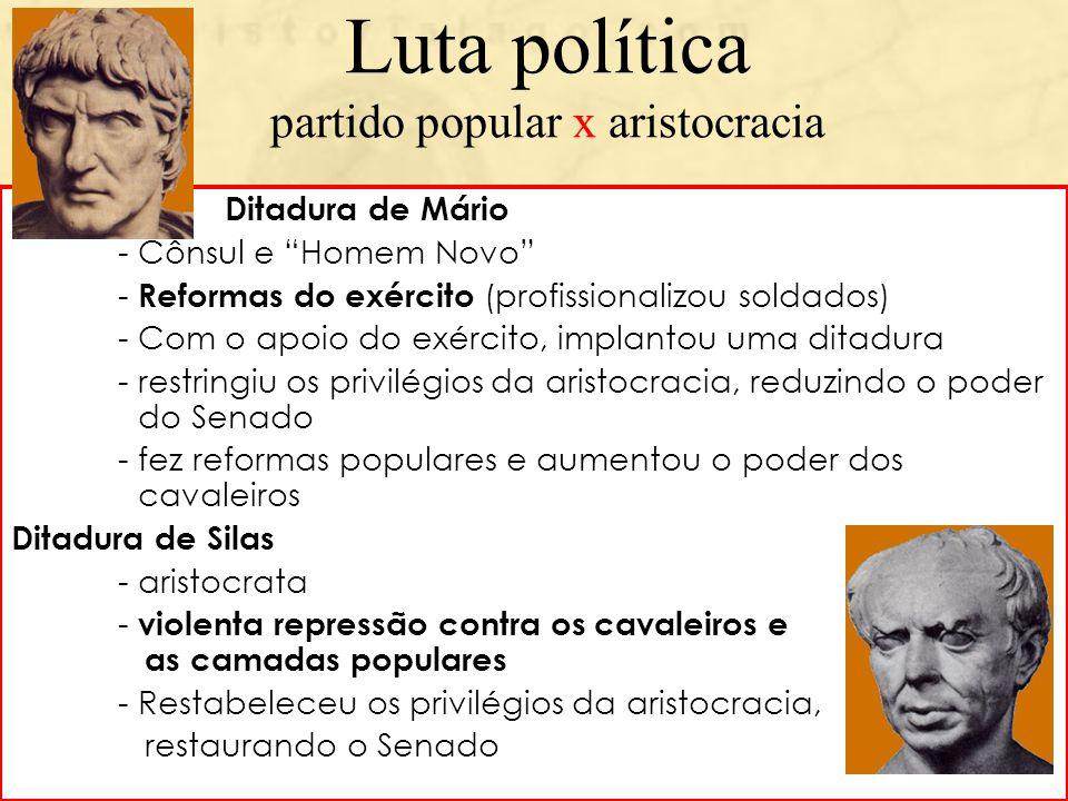 Luta política partido popular x aristocracia