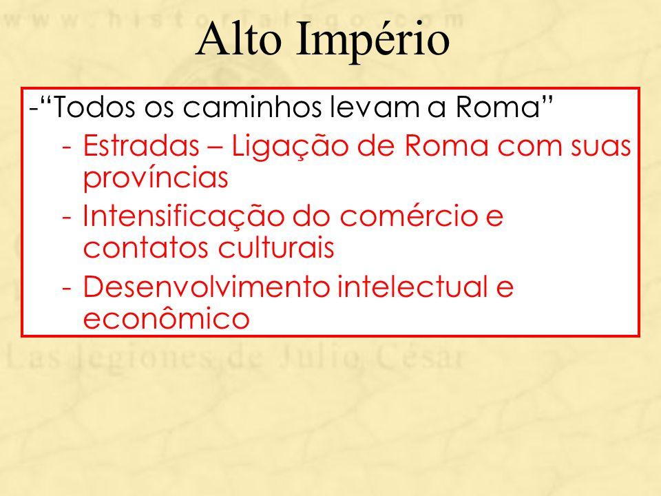 Alto Império Todos os caminhos levam a Roma
