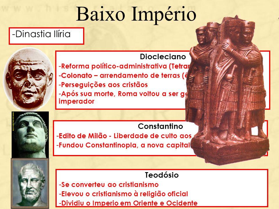 Baixo Império Dinastia Ilíria Diocleciano Constantino Teodósio