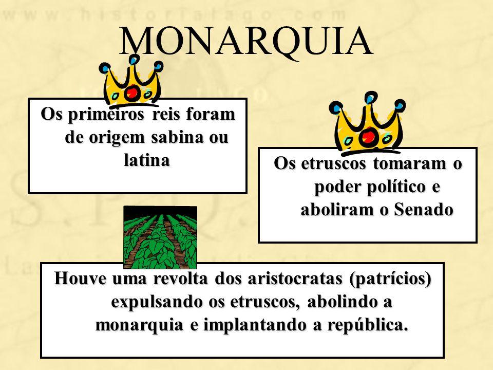 MONARQUIA Os primeiros reis foram de origem sabina ou latina