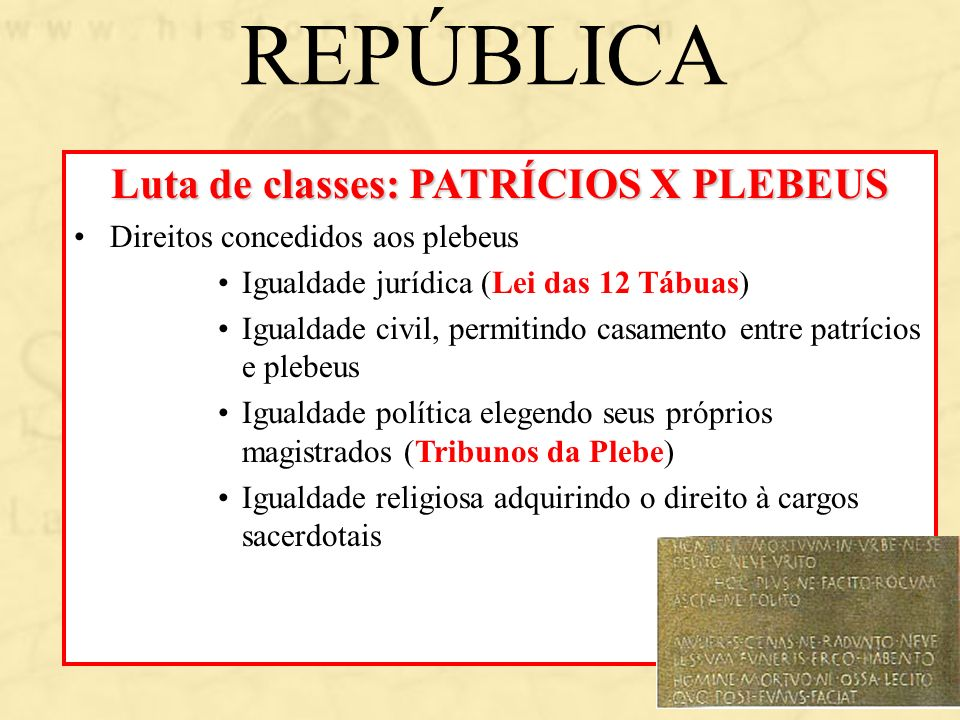 Luta de classes: PATRÍCIOS X PLEBEUS