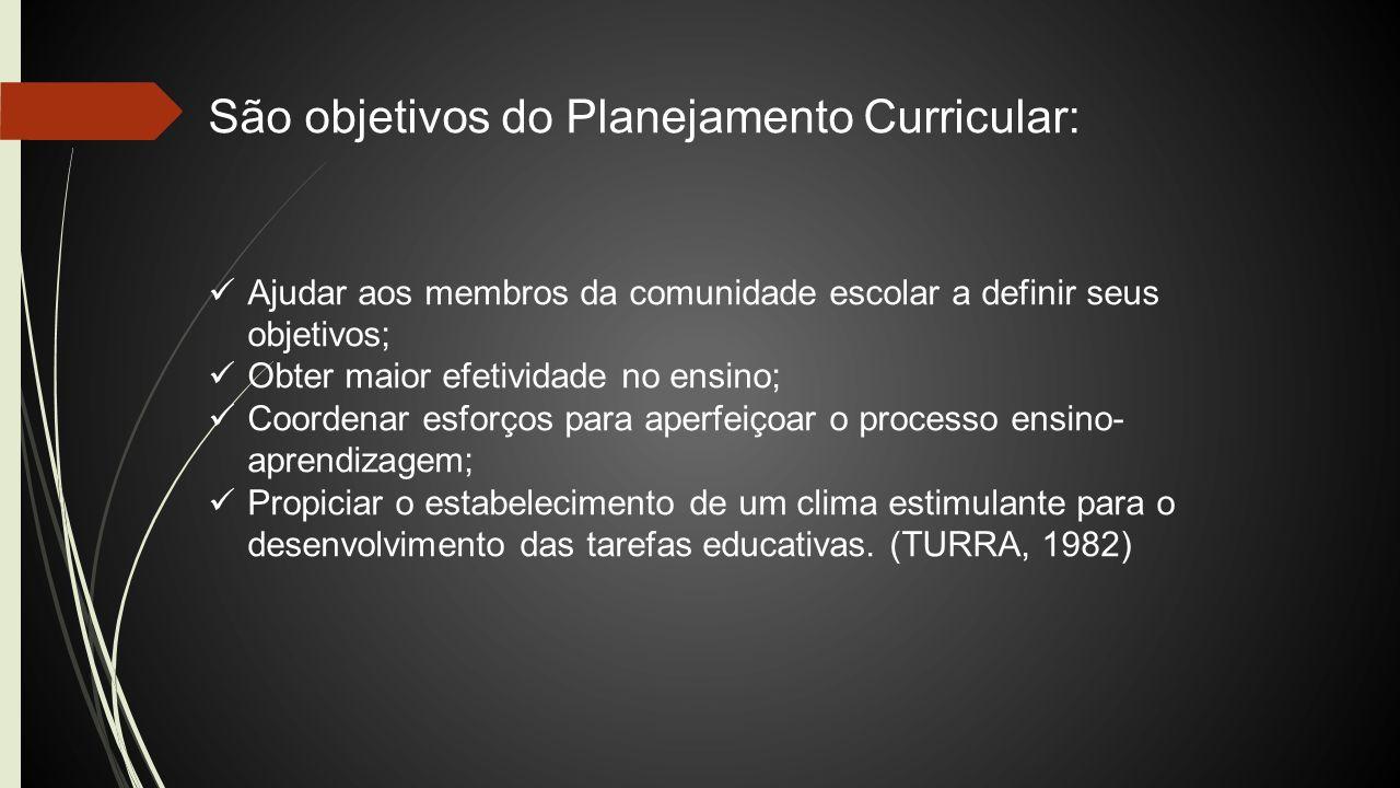 São objetivos do Planejamento Curricular: