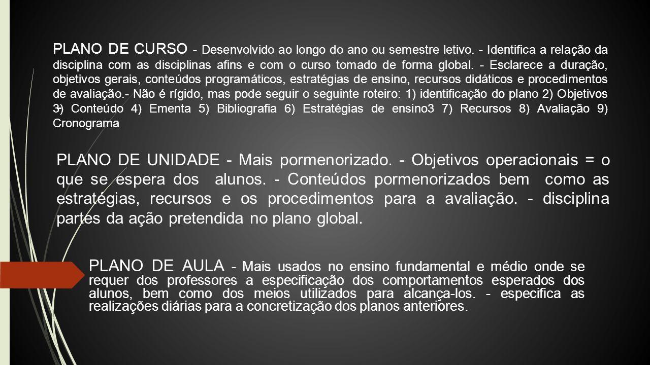 PLANO DE CURSO - Desenvolvido ao longo do ano ou semestre letivo