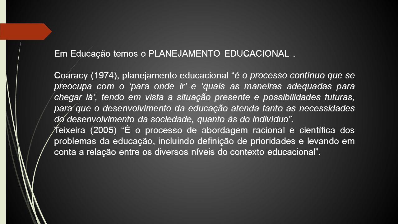 Em Educação temos o PLANEJAMENTO EDUCACIONAL .
