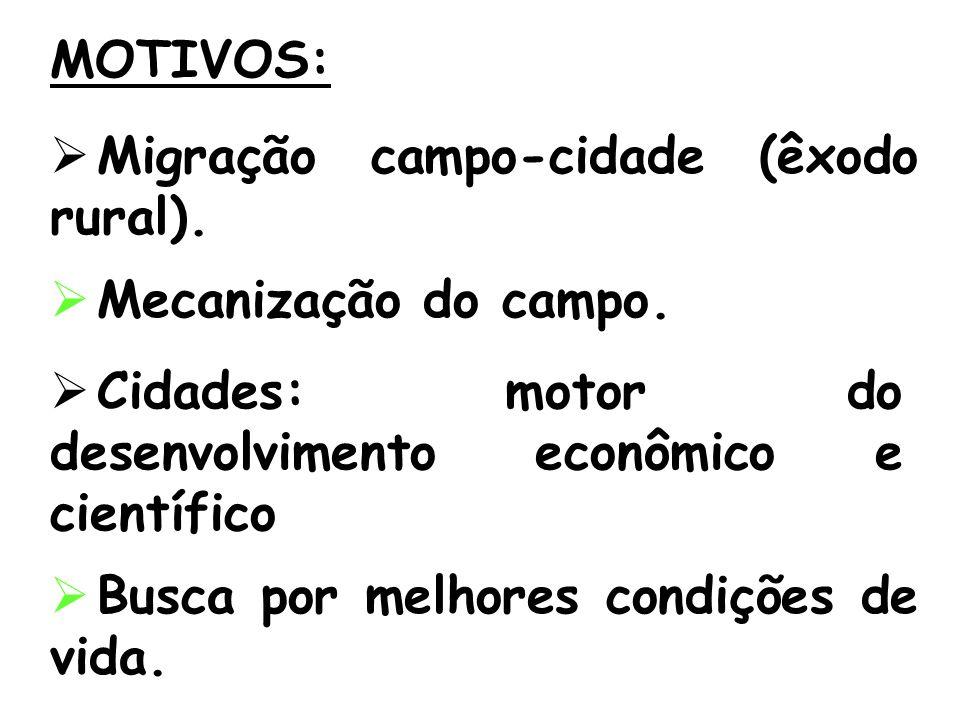 MOTIVOS: Migração campo-cidade (êxodo rural). Mecanização do campo. Cidades: motor do desenvolvimento econômico e científico.