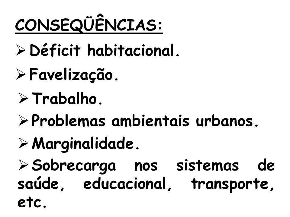 CONSEQÜÊNCIAS: Déficit habitacional. Favelização. Trabalho. Problemas ambientais urbanos. Marginalidade.