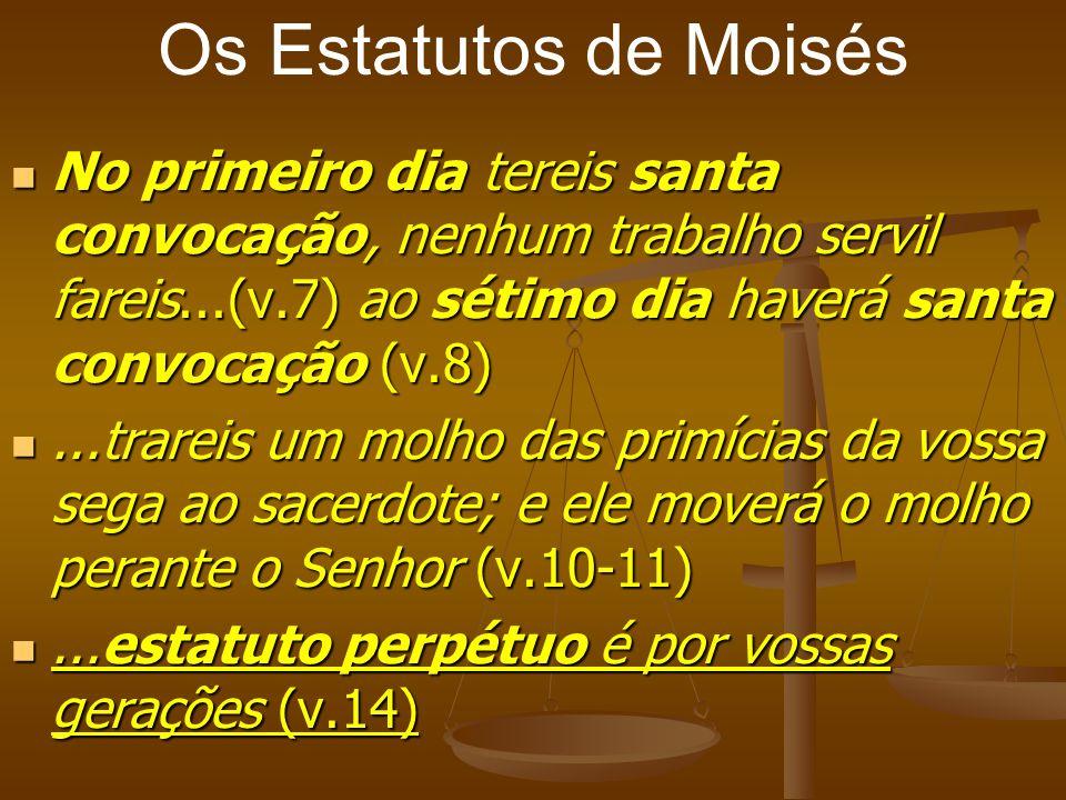 Os Estatutos de Moisés No primeiro dia tereis santa convocação, nenhum trabalho servil fareis...(v.7) ao sétimo dia haverá santa convocação (v.8)