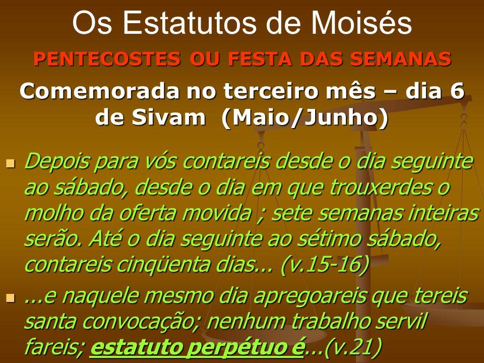 Os Estatutos de Moisés PENTECOSTES OU FESTA DAS SEMANAS. Comemorada no terceiro mês – dia 6 de Sivam (Maio/Junho)