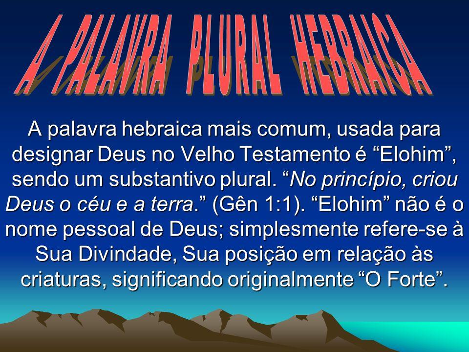 A PALAVRA PLURAL HEBRAICA