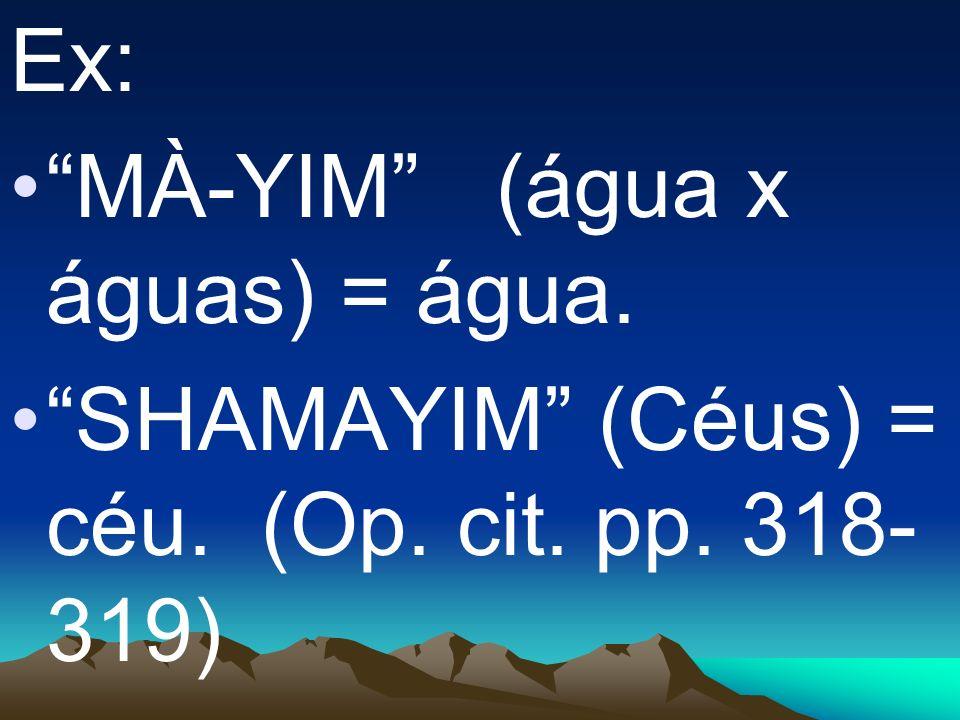 Ex: MÀ-YIM (água x águas) = água. SHAMAYIM (Céus) = céu. (Op. cit. pp. 318-319)