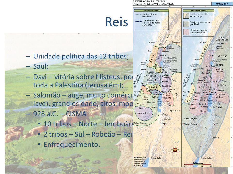 Reis Unidade política das 12 tribos; Saul;