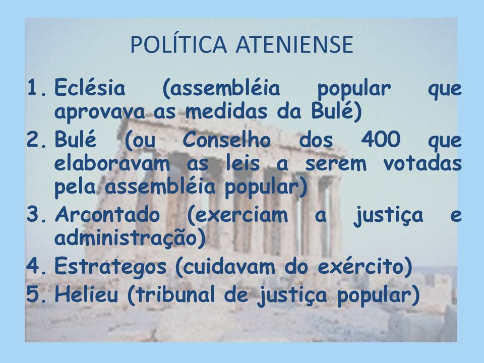 POLÍTICA ATENIENSE Eclésia (assembléia popular que aprovava as medidas da Bulé)