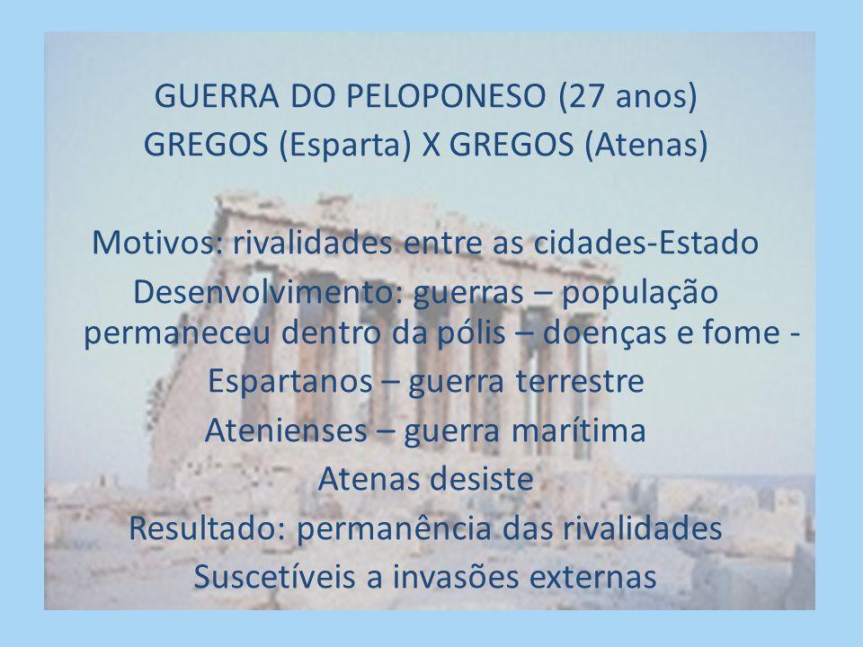 GUERRA DO PELOPONESO (27 anos) GREGOS (Esparta) X GREGOS (Atenas)