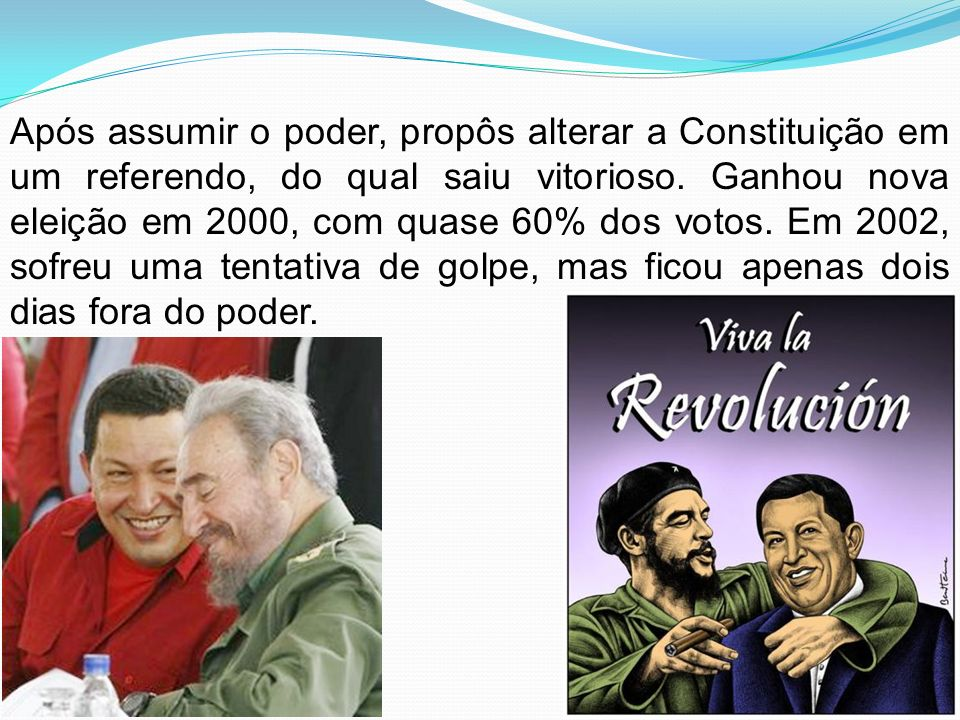 Após assumir o poder, propôs alterar a Constituição em um referendo, do qual saiu vitorioso.