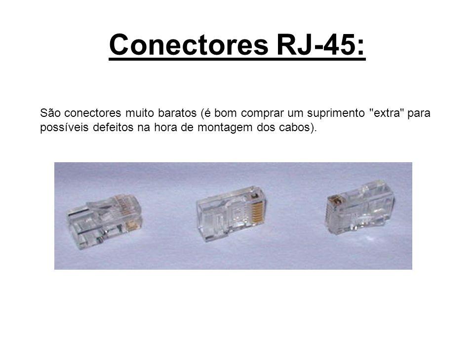 Conectores RJ-45:São conectores muito baratos (é bom comprar um suprimento extra para possíveis defeitos na hora de montagem dos cabos).