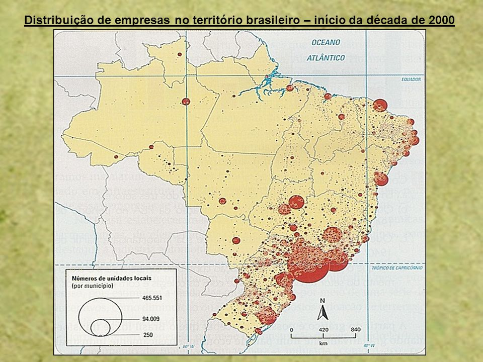 Distribuição de empresas no território brasileiro – início da década de 2000