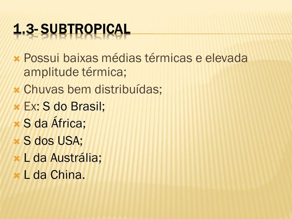 1.3- Subtropical Possui baixas médias térmicas e elevada amplitude térmica; Chuvas bem distribuídas;