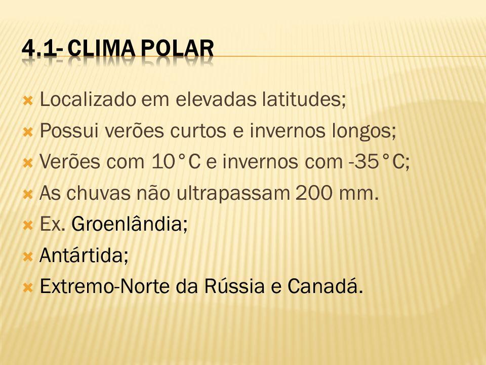 4.1- Clima Polar Localizado em elevadas latitudes;