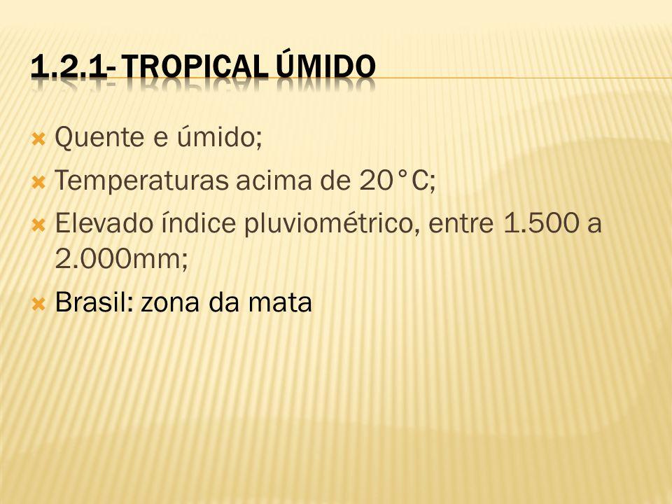 1.2.1- Tropical Úmido Quente e úmido; Temperaturas acima de 20°C;