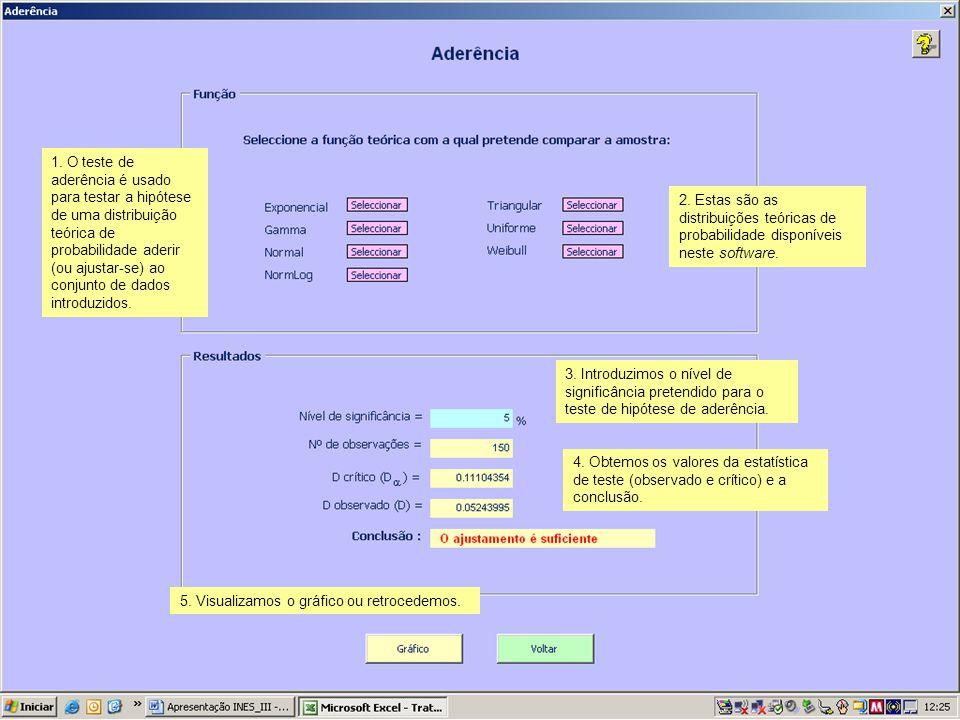 1. O teste de aderência é usado para testar a hipótese de uma distribuição teórica de probabilidade aderir (ou ajustar-se) ao conjunto de dados introduzidos.