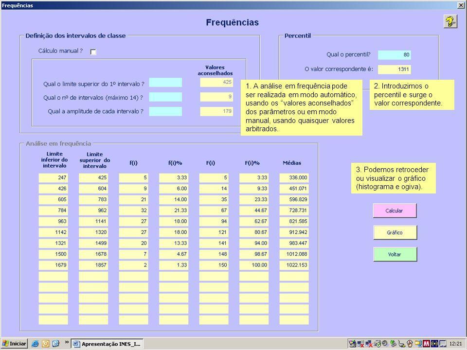 1. A análise em frequência pode ser realizada em modo automático, usando os valores aconselhados dos parâmetros ou em modo manual, usando quaisquer valores arbitrados.